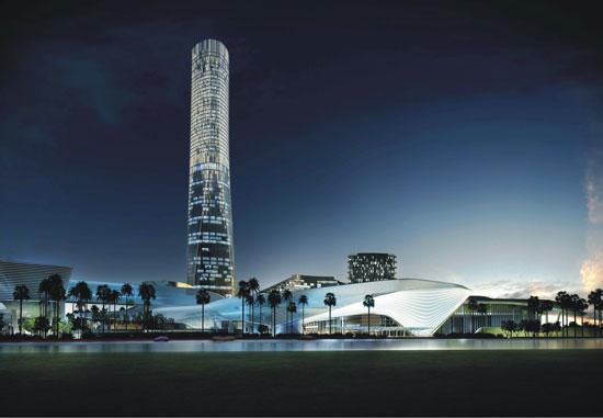 珠海十字门中央商务区标志性塔楼效果图